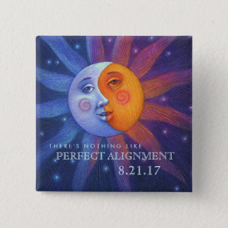 Sun and Moon Eclipse Perfect Alignment 15 Cm Square Badge
