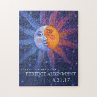 Sun and Moon Eclipse Perfect Alignment Jigsaw Puzzle
