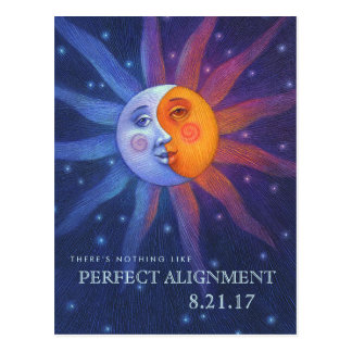 Sun and Moon Eclipse Perfect Alignment Postcard