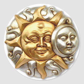SUN AND MOON FUSION METALLIC DESIGN CLASSIC ROUND STICKER