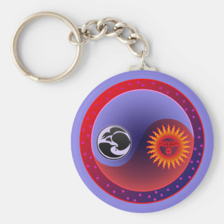 Sun and Moon in Balance Basic Round Button Key Ring