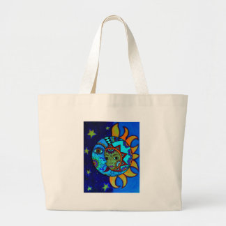 SUN AND MOON PRISARTS PAINTING LARGE TOTE BAG