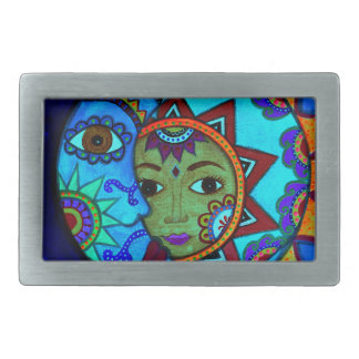 SUN AND MOON PRISARTS PAINTING RECTANGULAR BELT BUCKLE