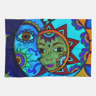 SUN AND MOON PRISARTS PAINTING TEA TOWEL