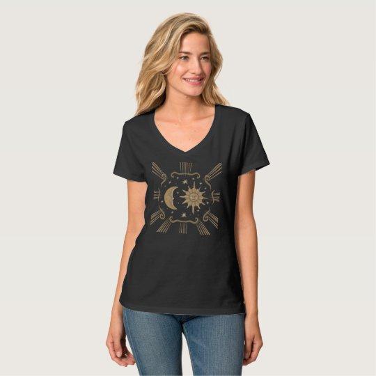 Sun and moon spiritual, new age women's V neck. T-Shirt