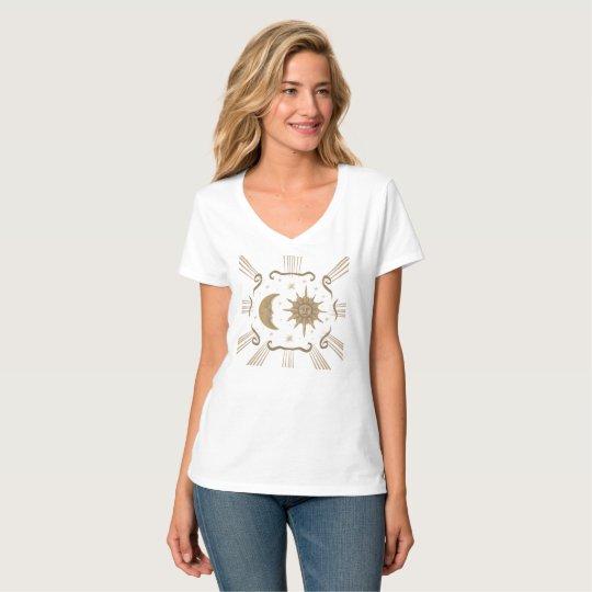 Sun and moon spiritual V neck women's shirt. T-Shirt