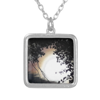 Sun And Pin Oaks Silver Plated Necklace
