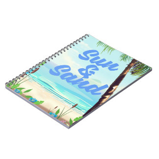 Sun and Sand inspirational quote cartoon poster la Notebooks