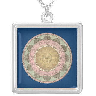 Sun and Seasons Detail from Antique Map circa 1780 Silver Plated Necklace