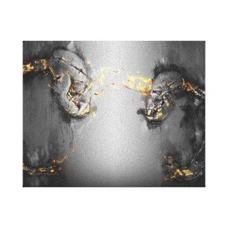 Sun bear art-before the fight-skeleton art series canvas print