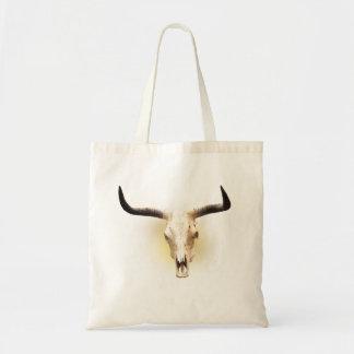 sun bleached steer skull budget tote bag