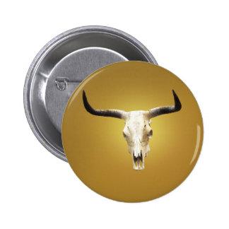 sun bleached steer skull button