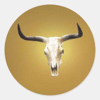 sun bleached steer skull round sticker
