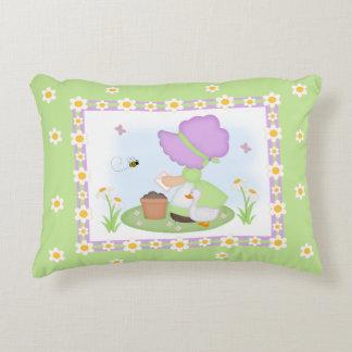 Sun Bonnet Girl Daisy Flower Lavender Green Floral Decorative Cushion