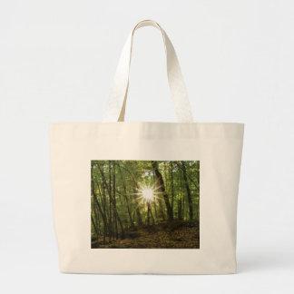 Sun breaks through woods large tote bag