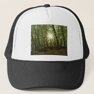 Sun breaks through woods trucker hat