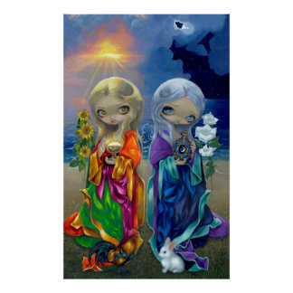Sun Child and Moon Child ART PRINT fairy goddess