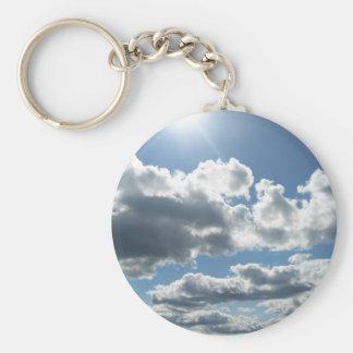 Sun Clouds Basic Round Button Key Ring
