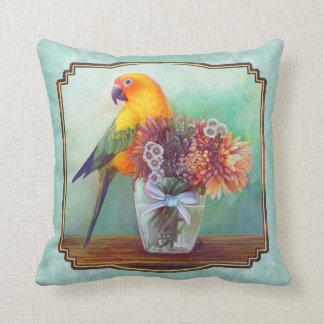 Sun conure and flowers throw cushion