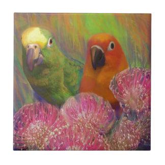 Sun Conures Parrots Small Square Tile
