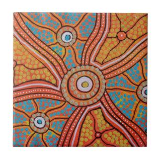 Sun Corroboree Small Square Tile