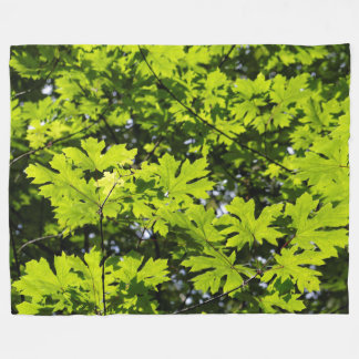 Sun-Dappled Leaves in the Forest Fleece Blanket