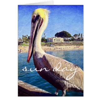 """Sun day"" beach pelican photo blank inside card"
