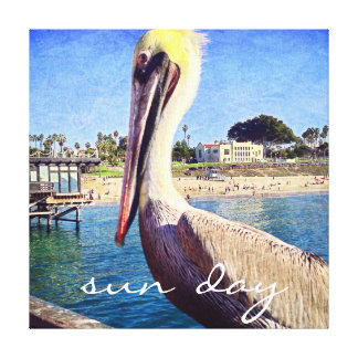 """Sun Day"" Quote Cute Beach Pier Pelican Bird Photo Canvas Print"