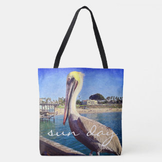 """Sun day"" quote cute beach pier pelican photo Tote Bag"