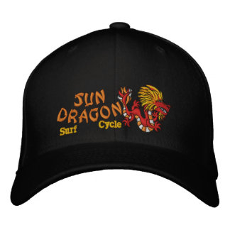 Sun Dragon  Surf and Cycle Embroidered Hat