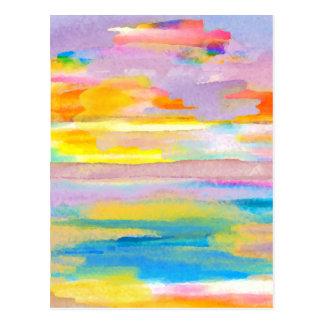 Sun Drama 2 Ocean Sea Lovers Colorful Art Postcard