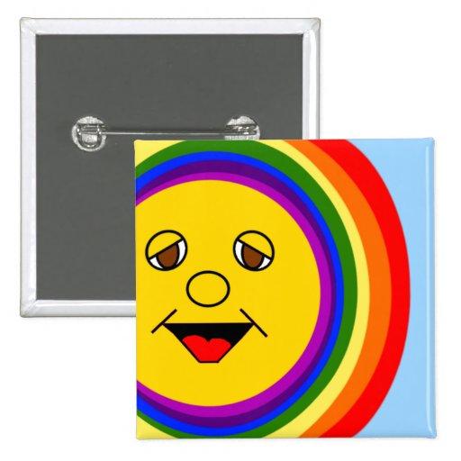 Sun Face and Rainbow Pinback Button