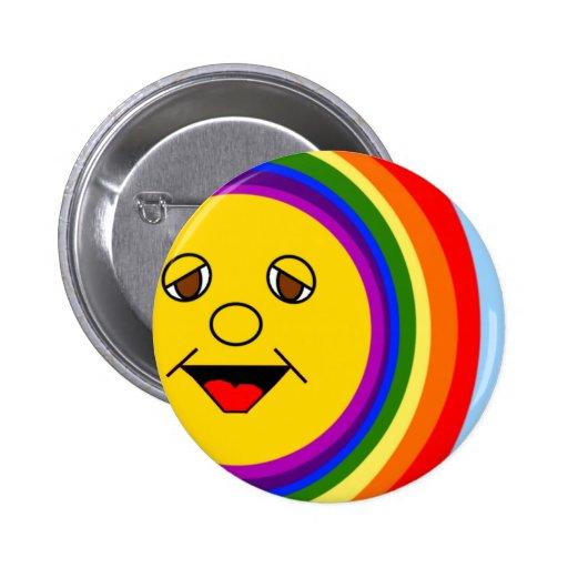 Sun Face and Rainbow Button