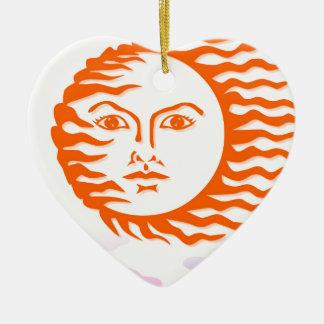 sun face ceramic heart decoration