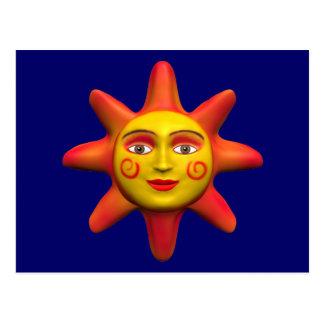 Sun face postcard