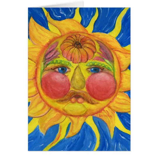 Sun Face with Fruit, Vegetables, Flowers Card