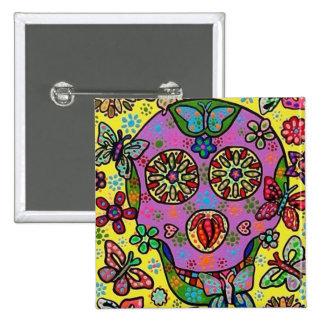 Sun Flower Butterfly Sugar Skull Pinback Button