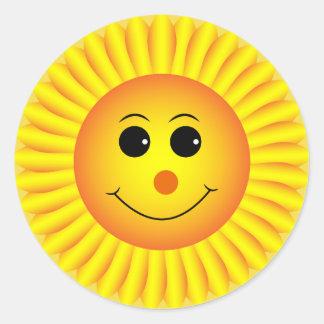 Sun Flower Emoji Face Classic Round Sticker