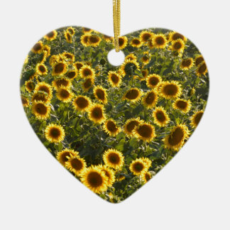 _sun flower field ceramic heart decoration