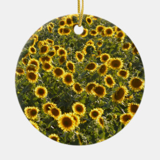 _sun flower field round ceramic decoration