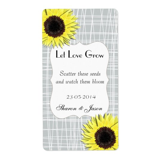 Sun Flower Seed Packet Labels Let Love Grow