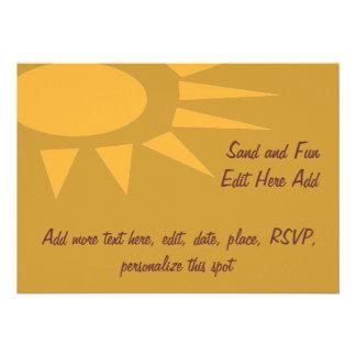 Sun Frame Tan Personalized Invites