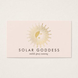 Sun Goddess Girl Logo Spray Tanning Salon Pink Business Card