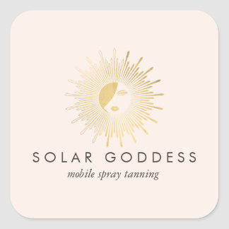 Sun Goddess Girl Logo Spray Tanning Salon Pink Square Sticker