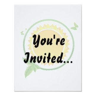 "sun green circle butterflies eco design.png 4.25"" x 5.5"" invitation card"