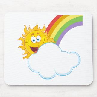 Sun Hiding Behind Cloud And Rainbow Mousepads