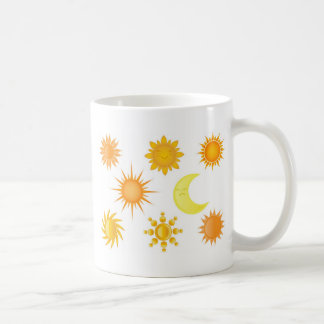 Sun icons set mugs