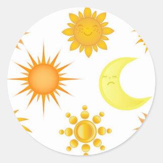 Sun icons set round sticker