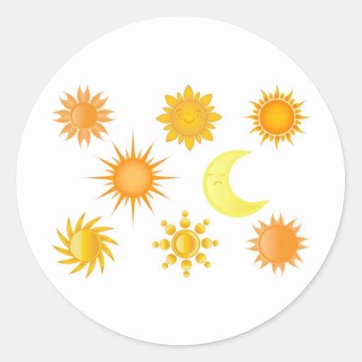 Sun icons set stickers