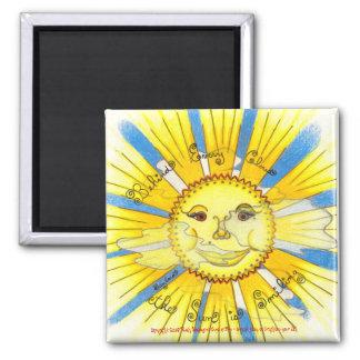 """Sun in Clouds - 2"""" Sq. Magnet (white)"""
